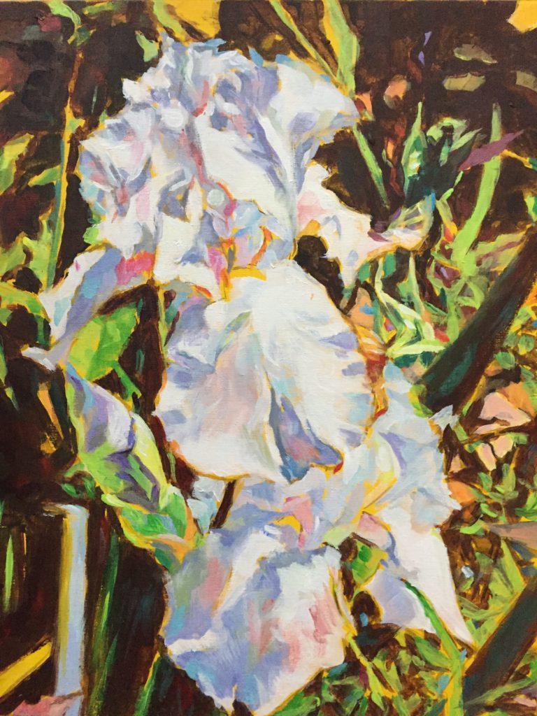 Iris painting wood panel